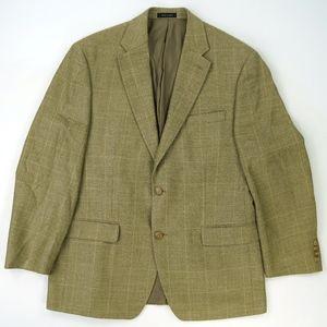 Ralph Lauren Tan Check Plaid Silk Wool Sport Coat